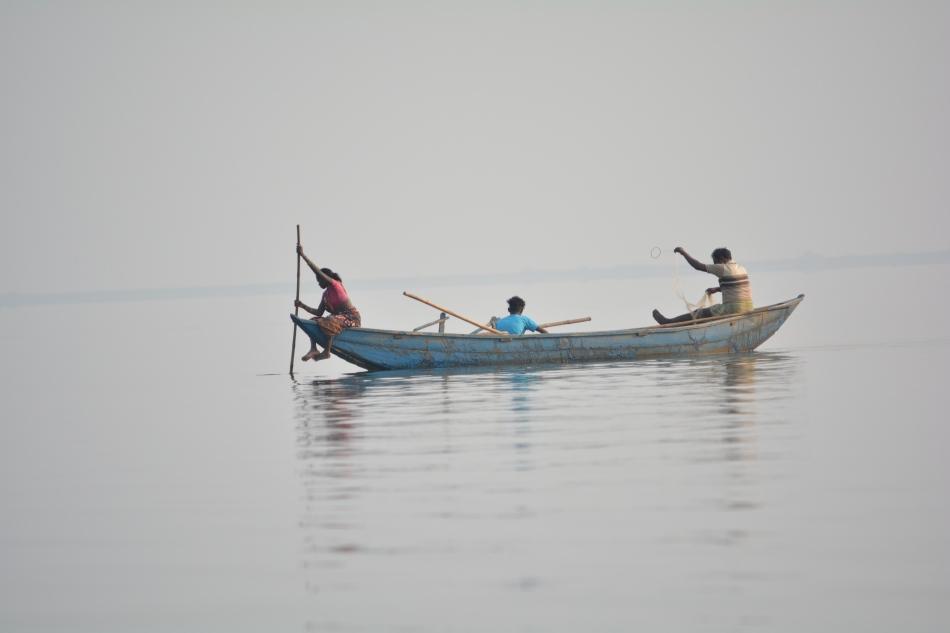 fishing by local people in Hirakund Lake, Sambalpur